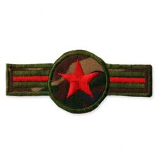 RED STAR BADGE MOTIF IRON ON EMBROIDERED PATCH APPLIQUE